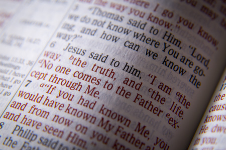 I am the way, the truth, and the lifeBible text from John 14:6, the Bible. Visual effects to emphasize the message. Macro Stock fotó