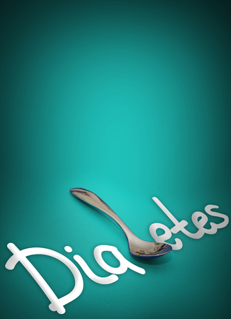 Diabetes - the word with spoon instead of letter B showing danger of overeating and obesity as risk factors. Health hazard. Medical concept Stock Photo