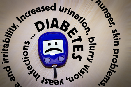 vision loss: Diabetes symptoms written in spiral around the glucometer illustrating health hazard: Increased urination, excessive thirst, weight loss, hunger, skin problems, yeast infections, fatigue, irritability, blurry vision