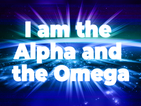 I am the Alpha and Omega - the statement of Jesus with shining bursting effect on dark background - Revelation 22:13 Foto de archivo - 120864354
