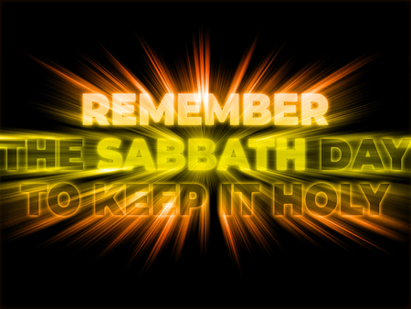 Remember the Sabbath Day to Keep it Holy - the Fourth God's Commandment with shining and bursting effect on dark background Foto de archivo - 120864423