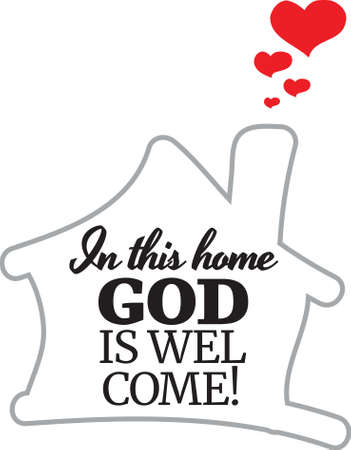 In This Home God is Welcome, vector, wording design, lettering, T-shirt application, book illustration, Christian poster design isolated on white background, wall decals, wall artwork, graphic design