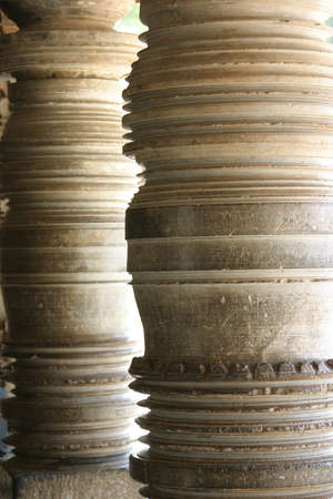 karnataka culture: Lathe turned stone pillars at the Keshava temple in Somnathpur. Stock Photo