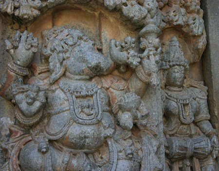 karnataka culture: Stone carving of the Indian god with an elephant face - Ganesh.
