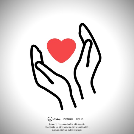 Pictograph of heart in hand