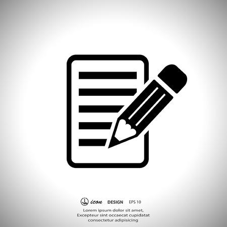lapiz y papel: Pictograma de la nota