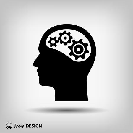 pensamiento creativo: Pictograma de artes en la cabeza