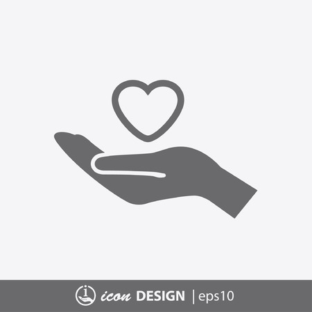 hand heart: Pictograph of heart in hand