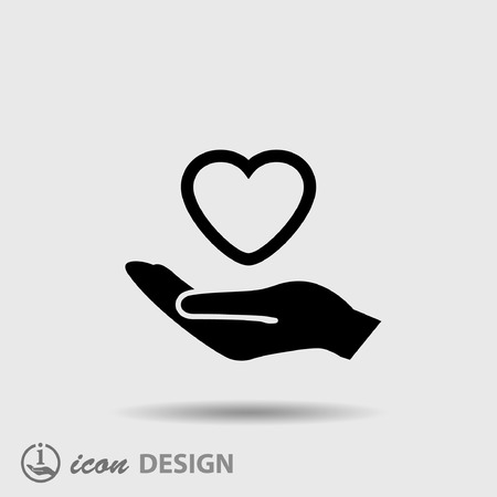 simbolo medicina: Pictograma del corazón en la mano