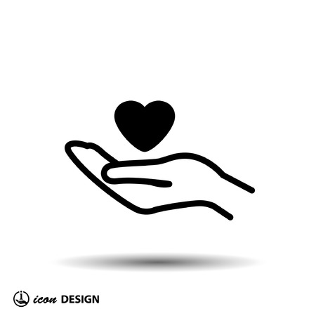 heart hand: Pictograph of heart in hand