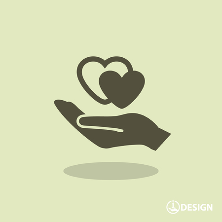 protection hands: Pictograph of heart in hand