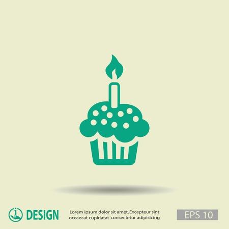 pastel cumpleaños: Pictograma de la torta Vectores