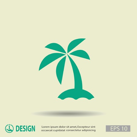 on palm tree: Pictograph of island
