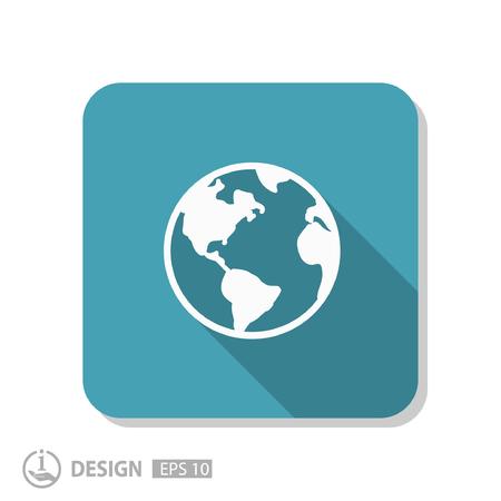 globo terraqueo: Pictograma del mundo Vectores