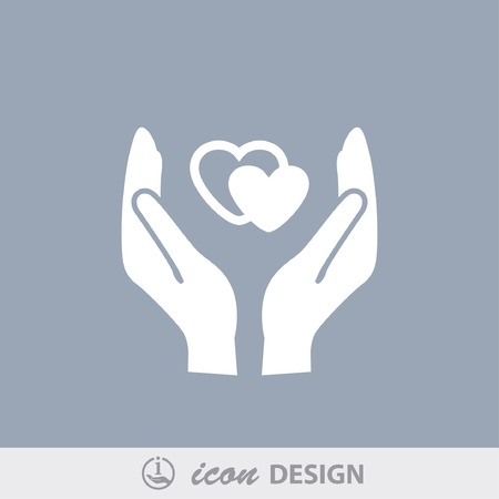 heart in hand: Pictograph of heart in hand