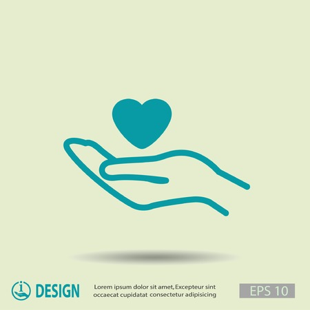 care: Pictograph of heart in hand