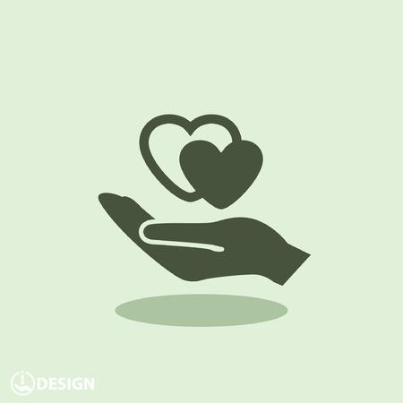 Pictograma del corazón en la mano