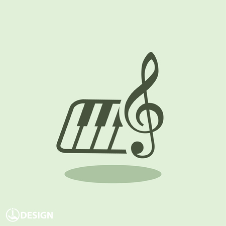 instrumental: Pictograph of music key and keyboard