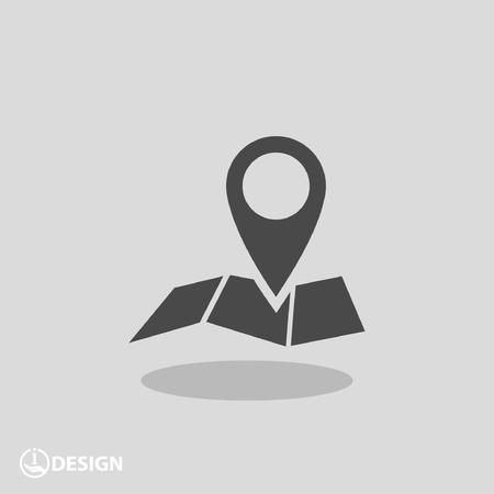 rotulador: Pin en el mapa. Vector icono Vectores