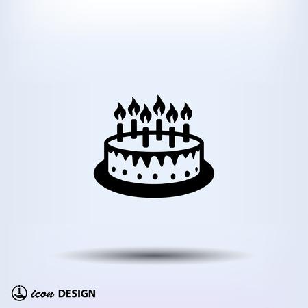 torta candeline: Pittogramma di torta Vettoriali