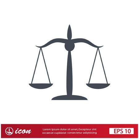 Beeldschriftteken van rechtvaardigheid schalen Stock Illustratie