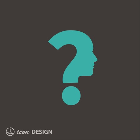 question mark icon: Pictograph of question mark and man