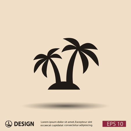 palm tree isolated: Pictograph of island