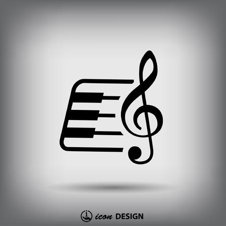 instrumentos musicales: Pictograma de la tecla de m�sica y teclado Vectores