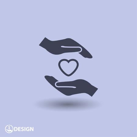 proteccion: Pictograma del corazón en la mano