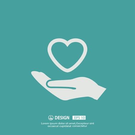 symbol hand: Piktogramm des Herzens in der Hand