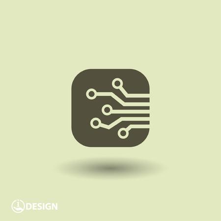 circuitos electronicos: Pictograma de la placa de circuito Vectores