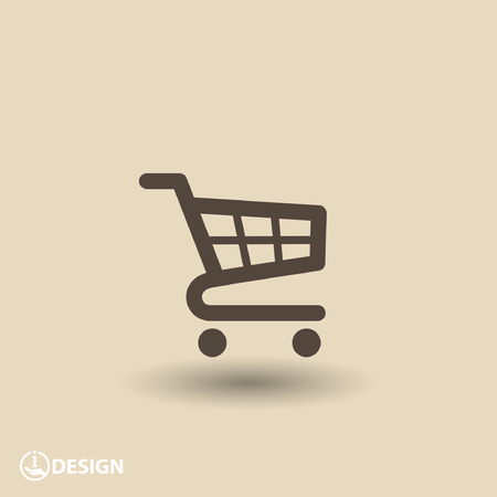 empty basket: Pictograph of shopping cart Illustration
