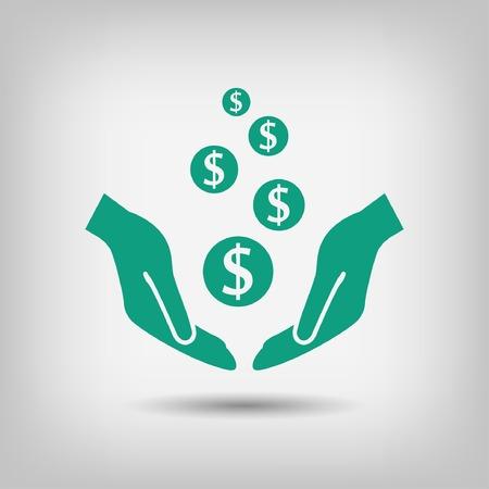 signo pesos: Pictograma de dinero en la mano