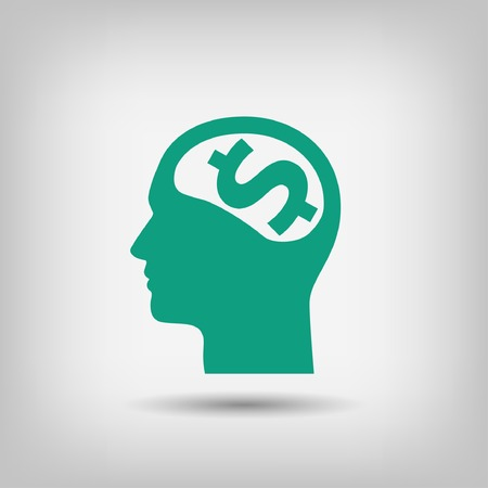 pictograph: Pictograph of money brain Illustration