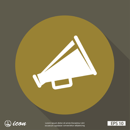 button icon: Pictograph of megaphone Illustration