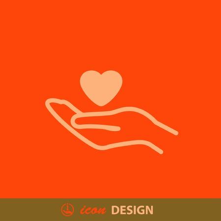 Pictogramme de coeur dans la main