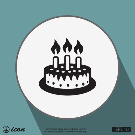 torta de cumpleaños: Pictograma de la torta Vectores