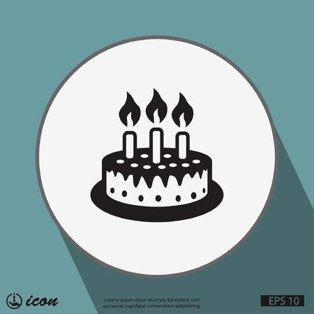 happy birthday cake: Pictograph of cake Illustration