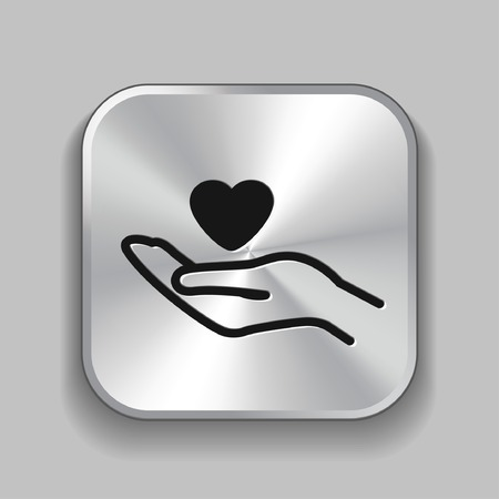love abstract: Pictograph of heart in hand