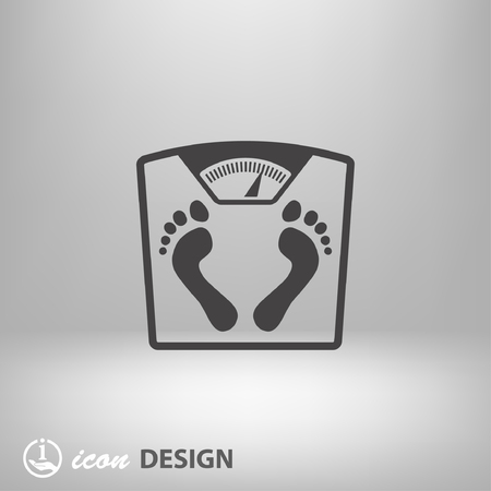 scale icon: Pictograph of bathroom scale with footprints