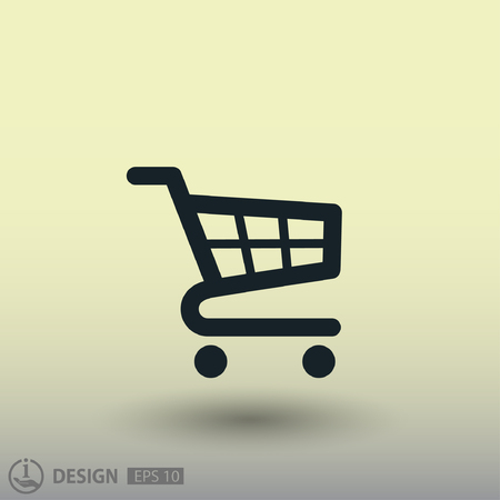 e store: Pictograph of shopping cart. Vector concept illustration for design. Eps 10