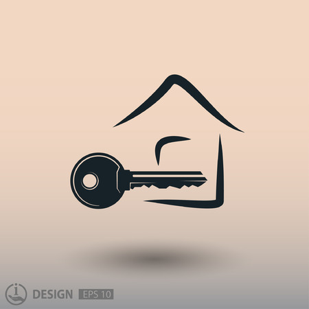 close account: Pictograph of key. Vector concept illustration for design Illustration
