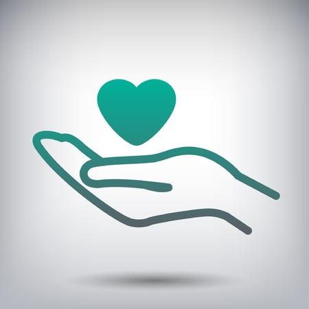 Pictogram van het hart in de hand