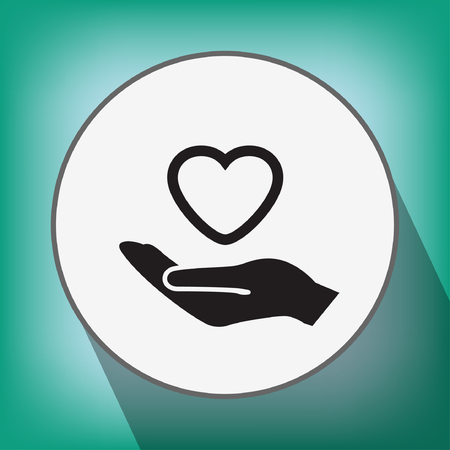 people helping people: Pictograph of heart in hand