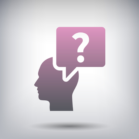 person thinking: Pictograph of question mark and man