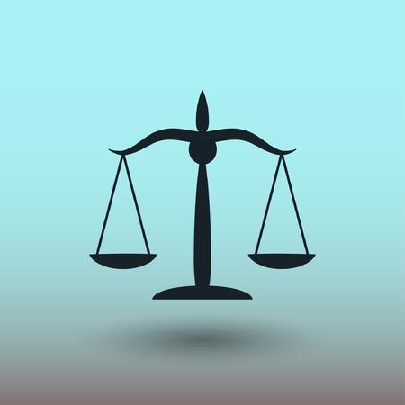 balanza de la justicia: Pictograma de las escalas de la justicia. Concepto de ilustraci�n vectorial para el dise�o.