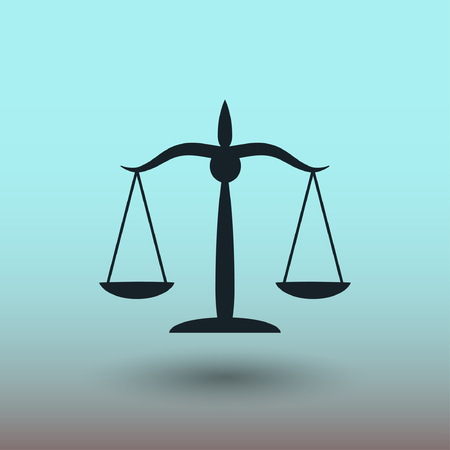 justice scales: Pictograph of justice scales. Vector concept illustration for design.
