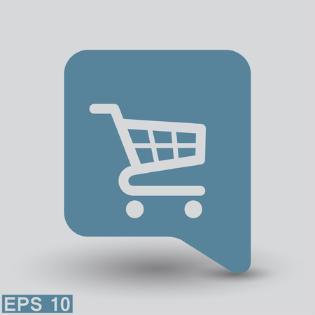 e retailers: Pictograph of shopping cart. Vector concept illustration for design.