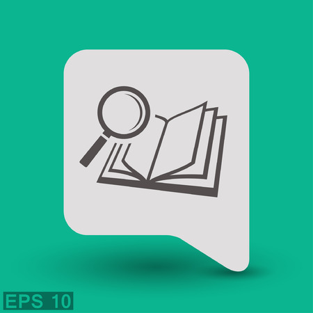 magnifier glass: Pictograph of book and magnifier glass. Illustration