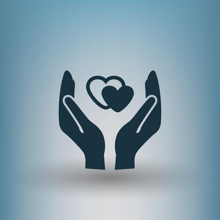 Pictograma del corazón en la mano. Vector ilustración del concepto para el diseño. Ilustración de vector